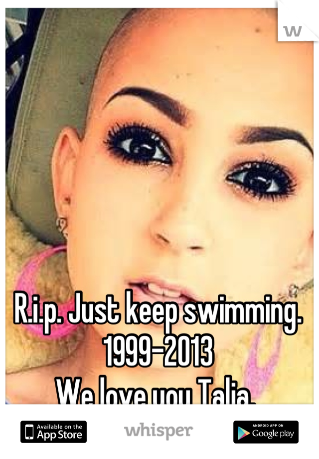 R.i.p. Just keep swimming.  1999-2013 We love you Talia.