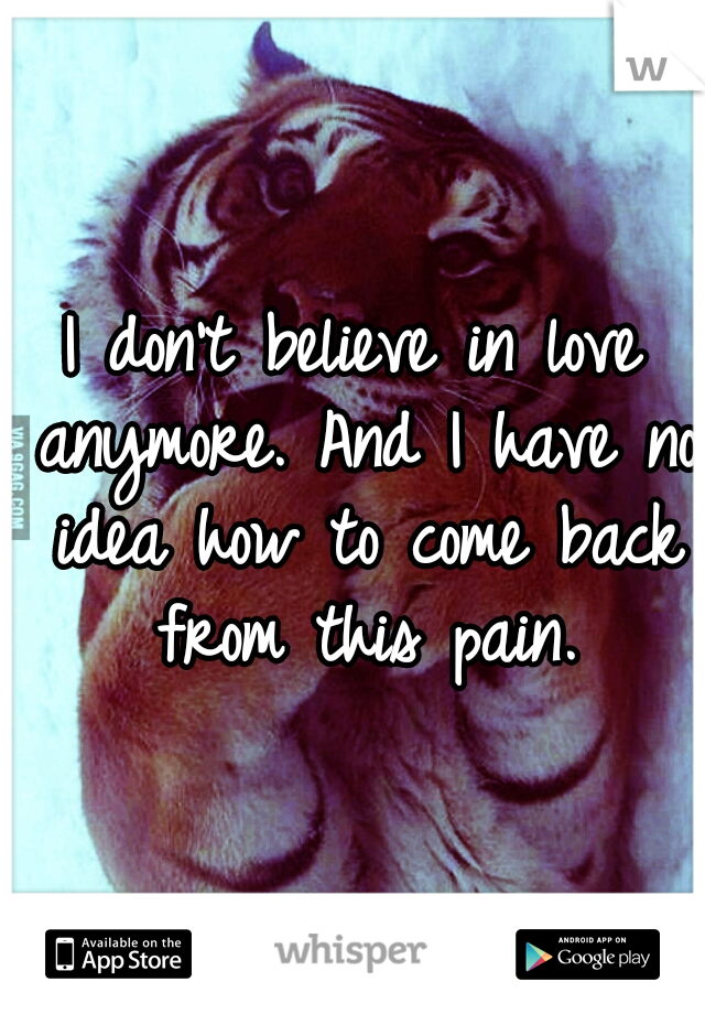 I don't believe in love anymore. And I have no idea how to come back from this pain.