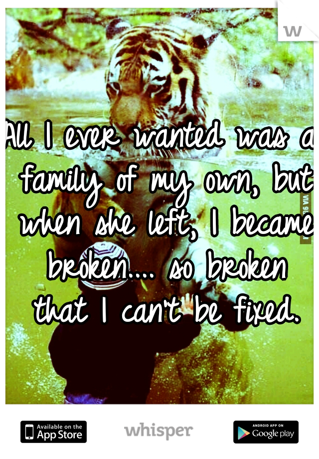 All I ever wanted was a family of my own, but when she left, I became broken.... so broken that I can't be fixed.