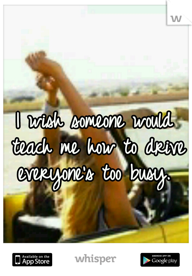 I wish someone would teach me how to drive everyone's too busy.