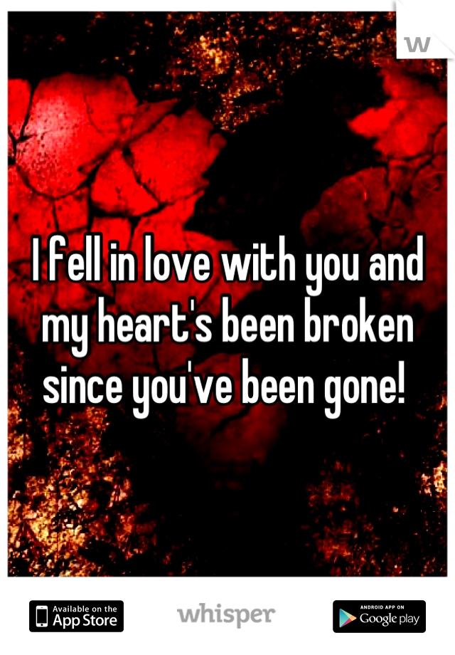 I fell in love with you and my heart's been broken since you've been gone!