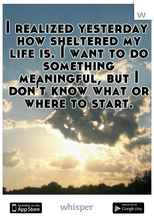 I realized yesterday how sheltered my life is. I want to do something meaningful, but I don't know what or where to start.