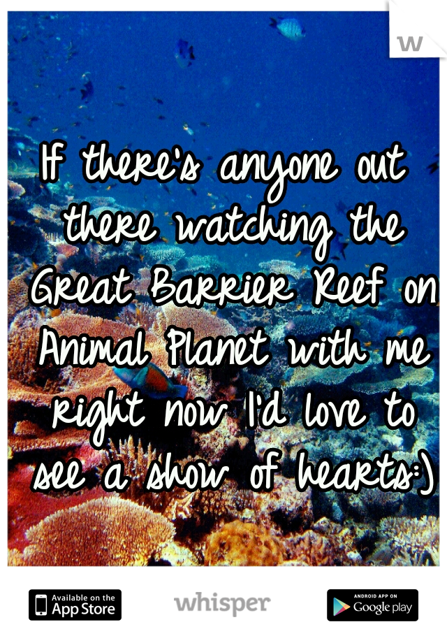 If there's anyone out there watching the Great Barrier Reef on Animal Planet with me right now I'd love to see a show of hearts:)