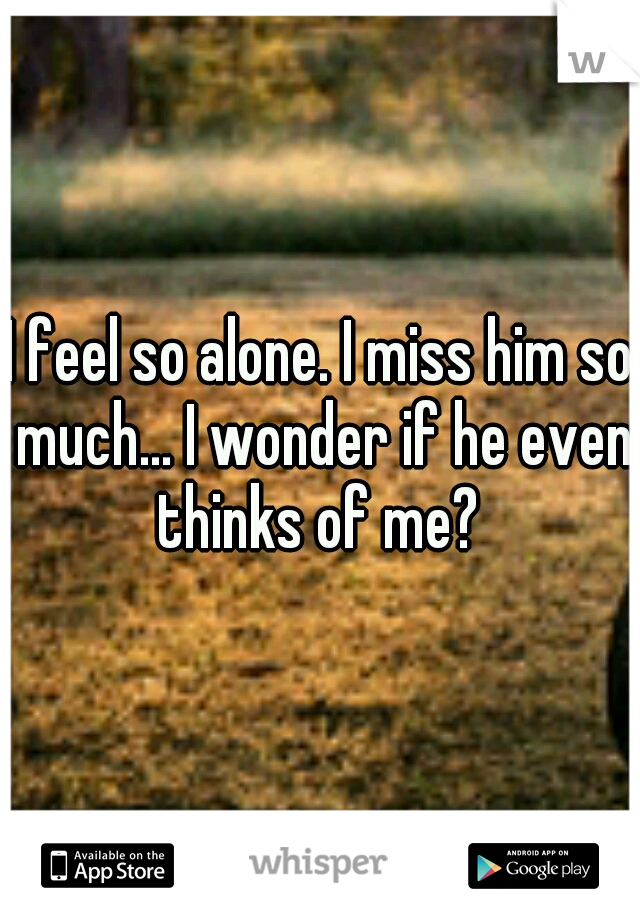 I feel so alone. I miss him so much... I wonder if he even thinks of me?