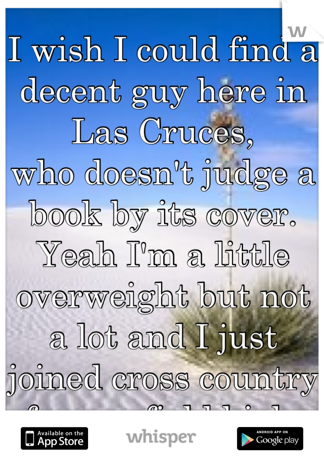 I wish I could find a decent guy here in Las Cruces, who doesn't judge a book by its cover. Yeah I'm a little overweight but not a lot and I just joined cross country for mayfield high.