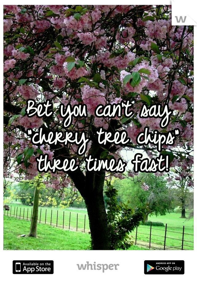 """Bet you can't say """"cherry tree chips"""" three times fast!"""