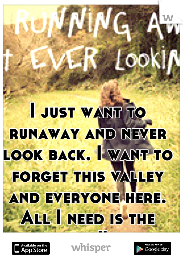 I just want to runaway and never look back. I want to forget this valley and everyone here. All I need is the money and I'm gone.