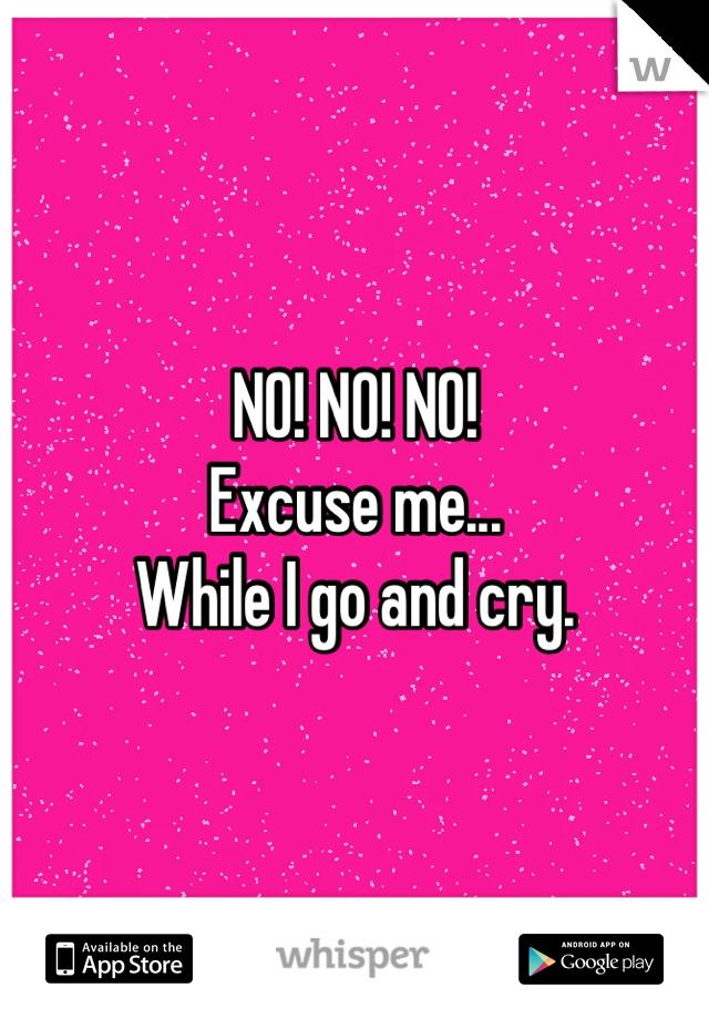 NO! NO! NO! Excuse me... While I go and cry.