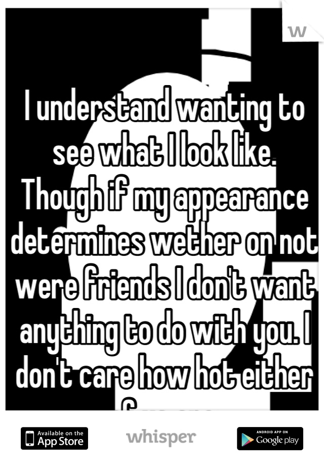 I understand wanting to see what I look like.  Though if my appearance determines wether on not were friends I don't want anything to do with you. I don't care how hot either of us are.