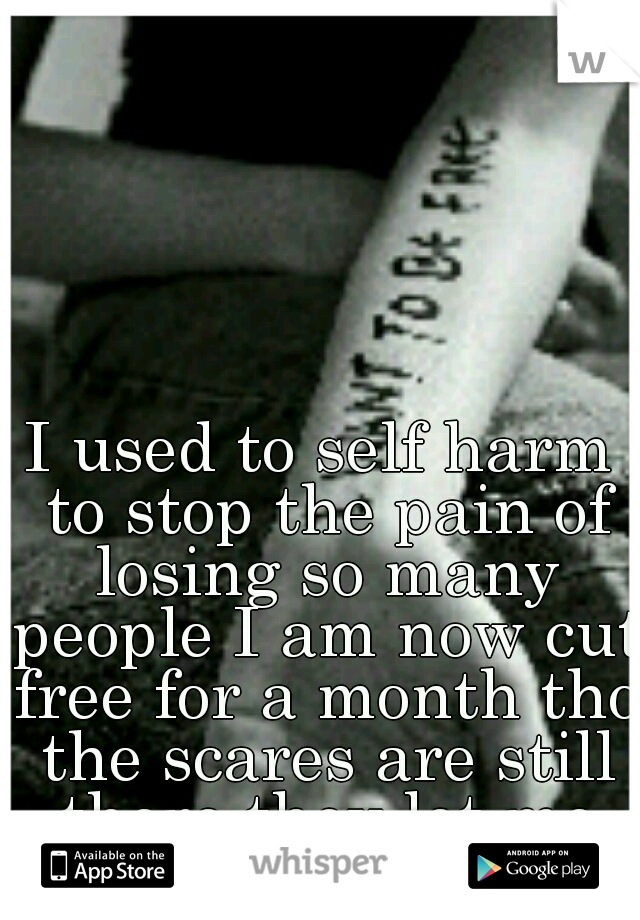 I used to self harm to stop the pain of losing so many people I am now cut free for a month tho the scares are still there they let me know not to give up