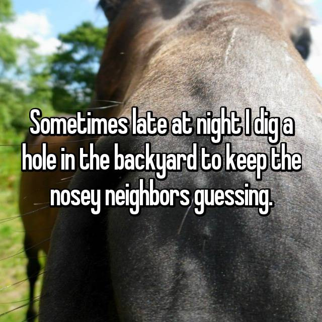 Sometimes late at night I dig a hole in the backyard to keep the nosey neighbors guessing.