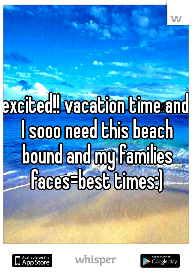 excited!! vacation time and I sooo need this beach bound and my families faces=best times:)