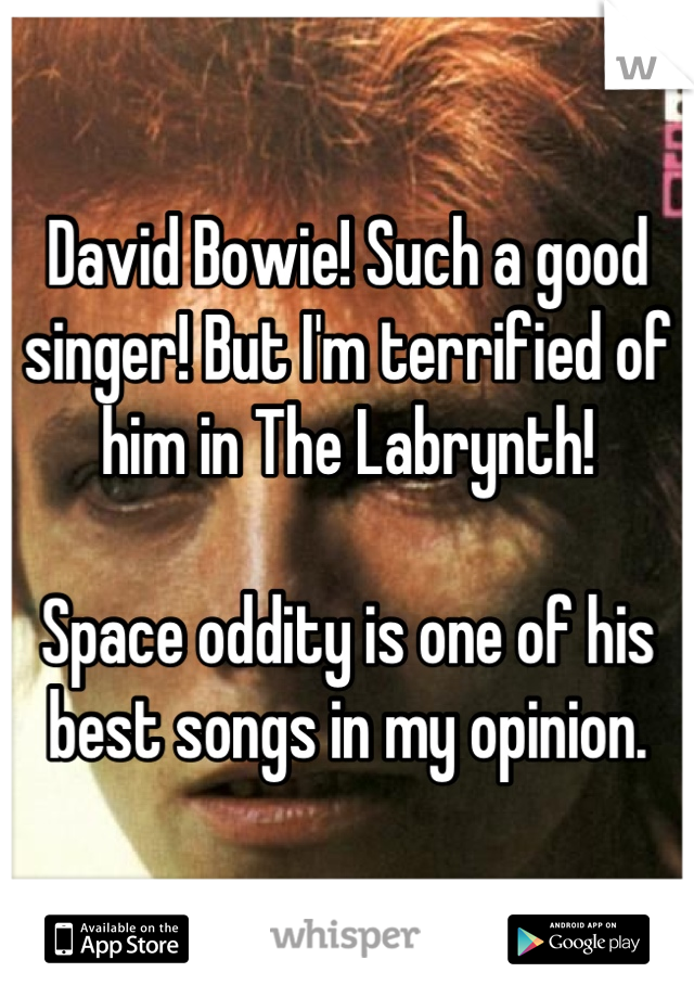 David Bowie! Such a good singer! But I'm terrified of him in The Labrynth!   Space oddity is one of his best songs in my opinion.