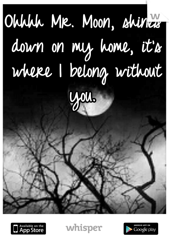 Ohhhh Mr. Moon, shines down on my home, it's where I belong without you.