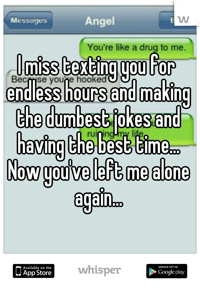 I miss texting you for endless hours and making the dumbest jokes and having the best time... Now you've left me alone again...