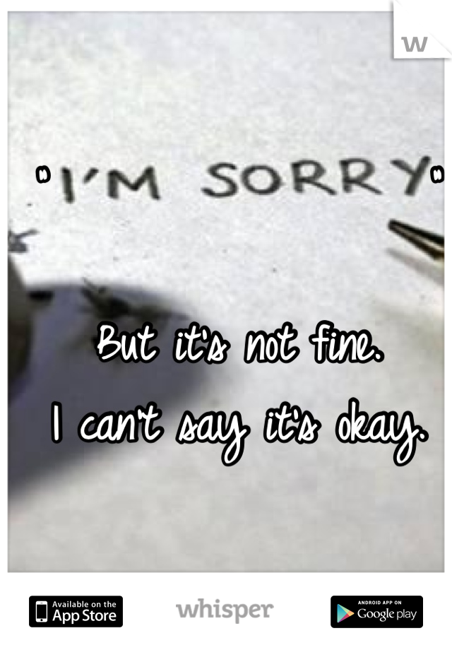 """""""                  """"  But it's not fine. I can't say it's okay."""