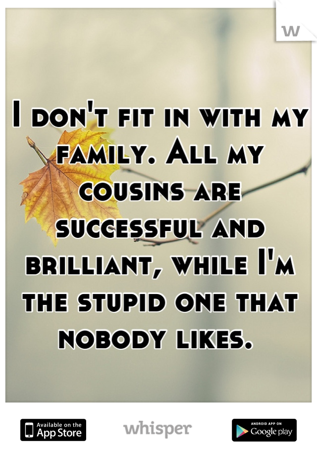 I don't fit in with my family. All my cousins are successful and brilliant, while I'm the stupid one that nobody likes.