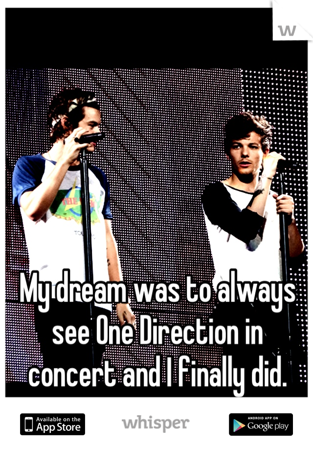 My dream was to always see One Direction in concert and I finally did.