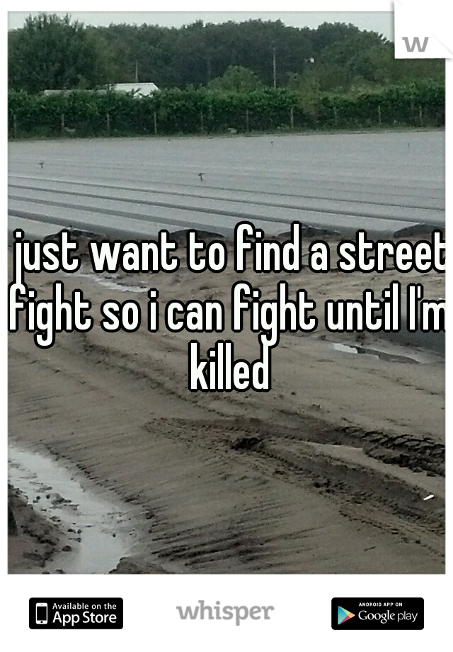 I just want to find a street fight so i can fight until I'm killed