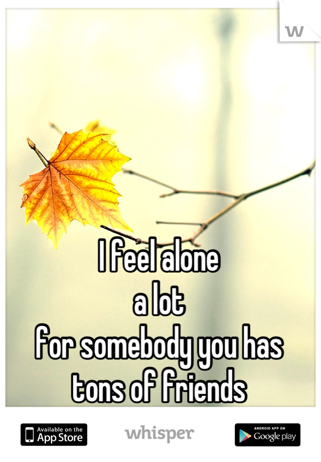 I feel alone a lot for somebody you has  tons of friends ......