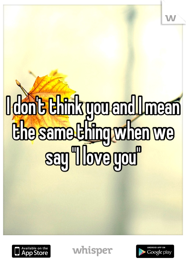 "I don't think you and I mean the same thing when we say ""I love you"""