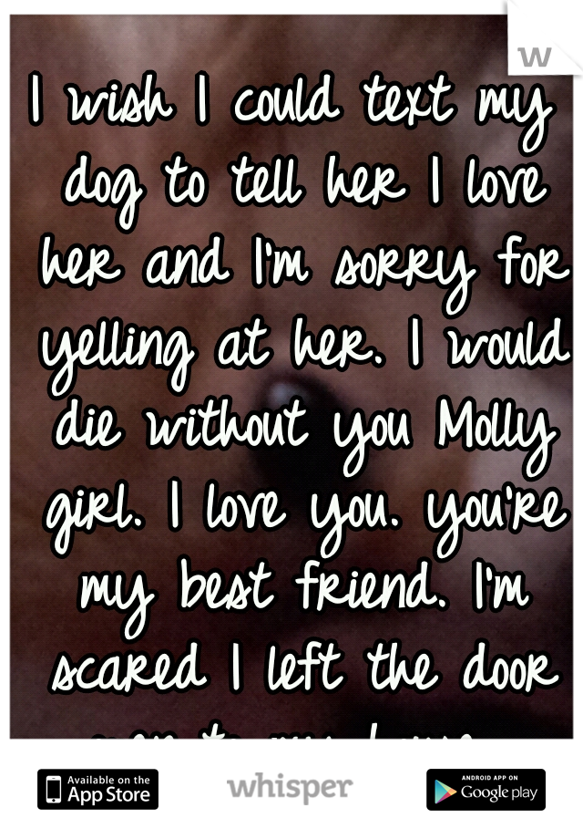 I wish I could text my dog to tell her I love her and I'm sorry for yelling at her. I would die without you Molly girl. I love you. you're my best friend. I'm scared I left the door open to my house.