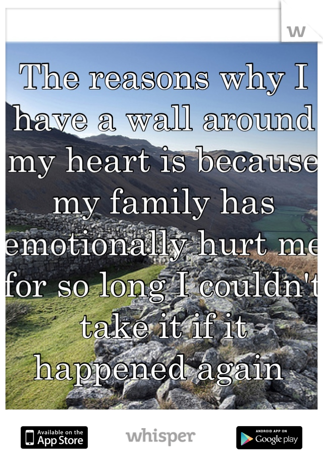 The reasons why I have a wall around my heart is because my family has emotionally hurt me for so long I couldn't take it if it happened again