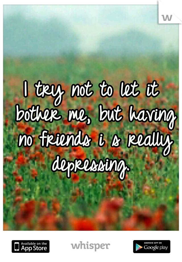 I try not to let it bother me, but having no friends i s really depressing.