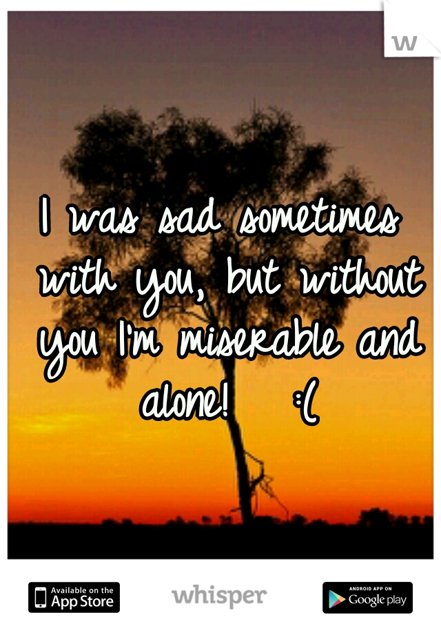 I was sad sometimes with you, but without you I'm miserable and alone!   :(