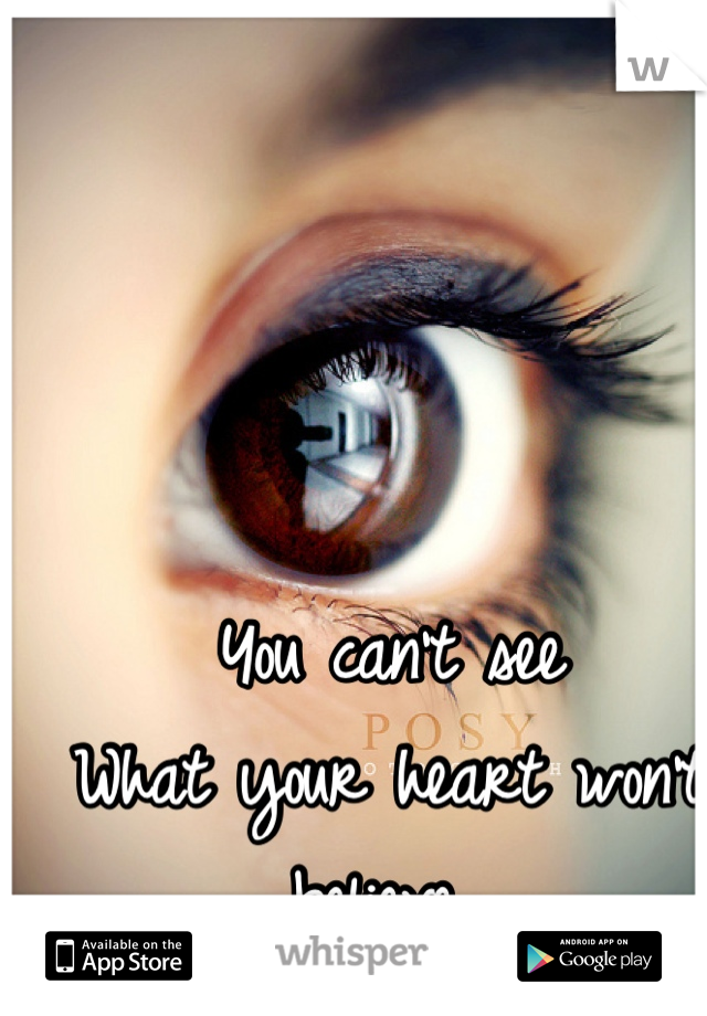 You can't see What your heart won't believe