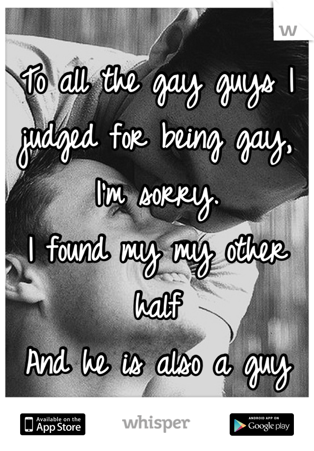 To all the gay guys I judged for being gay, I'm sorry.  I found my my other half  And he is also a guy