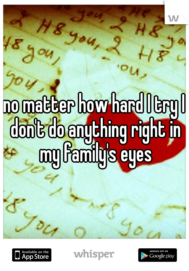 no matter how hard I try I don't do anything right in my family's eyes