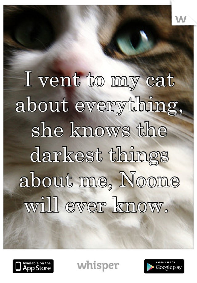 I vent to my cat about everything, she knows the darkest things about me, Noone will ever know.