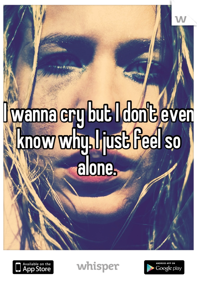 I wanna cry but I don't even know why. I just feel so alone.