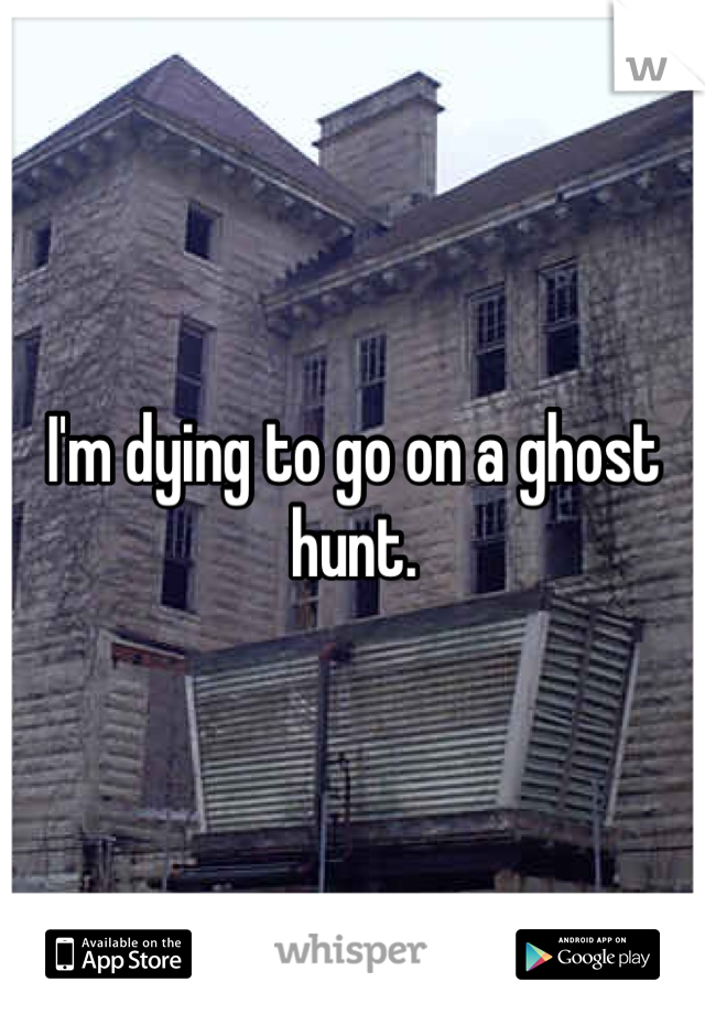 I'm dying to go on a ghost hunt.
