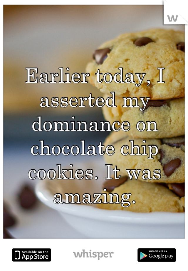 Earlier today, I asserted my dominance on chocolate chip cookies. It was amazing.