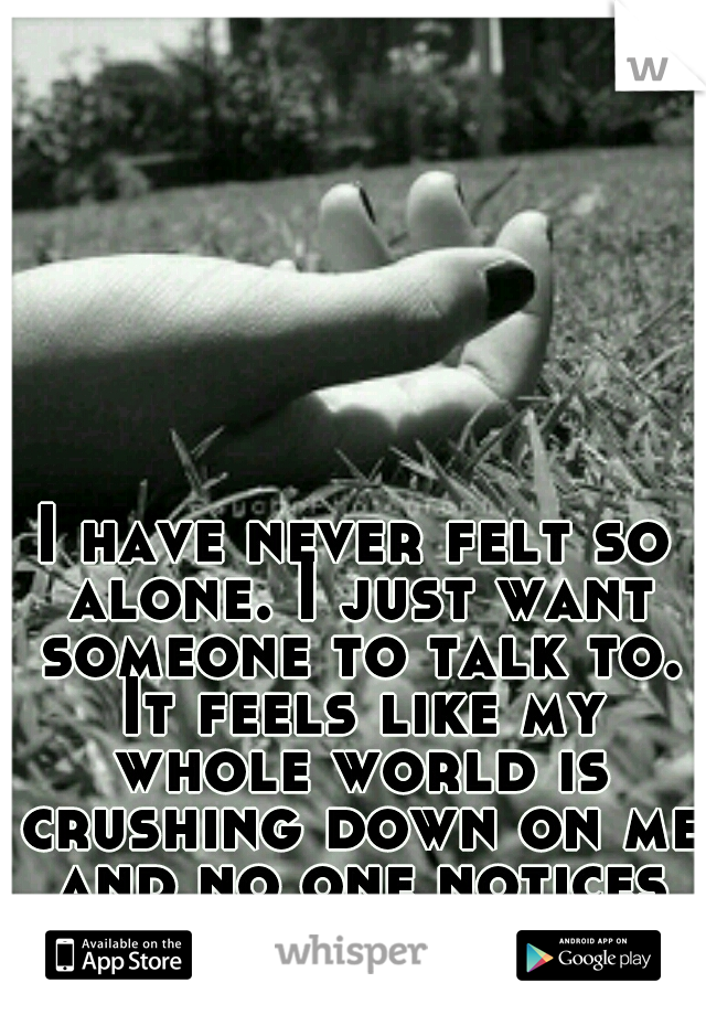 I have never felt so alone. I just want someone to talk to. It feels like my whole world is crushing down on me and no one notices or even cares.
