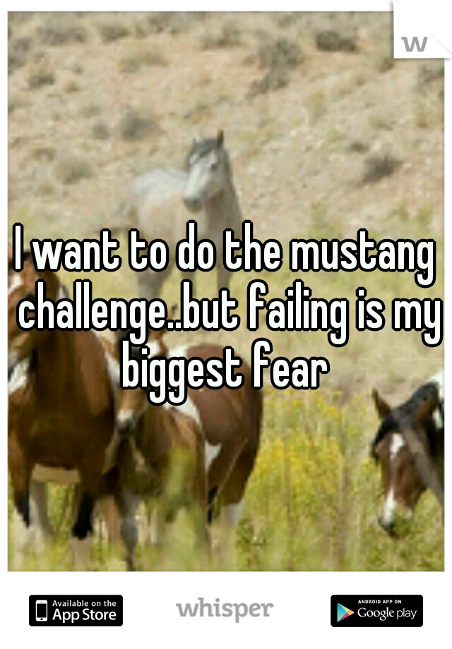 I want to do the mustang challenge..but failing is my biggest fear