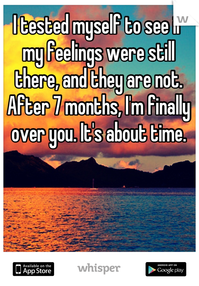 I tested myself to see if my feelings were still there, and they are not. After 7 months, I'm finally over you. It's about time.