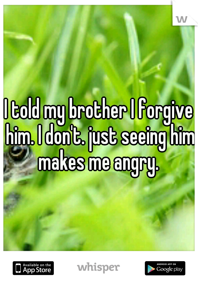 I told my brother I forgive him. I don't. just seeing him makes me angry.