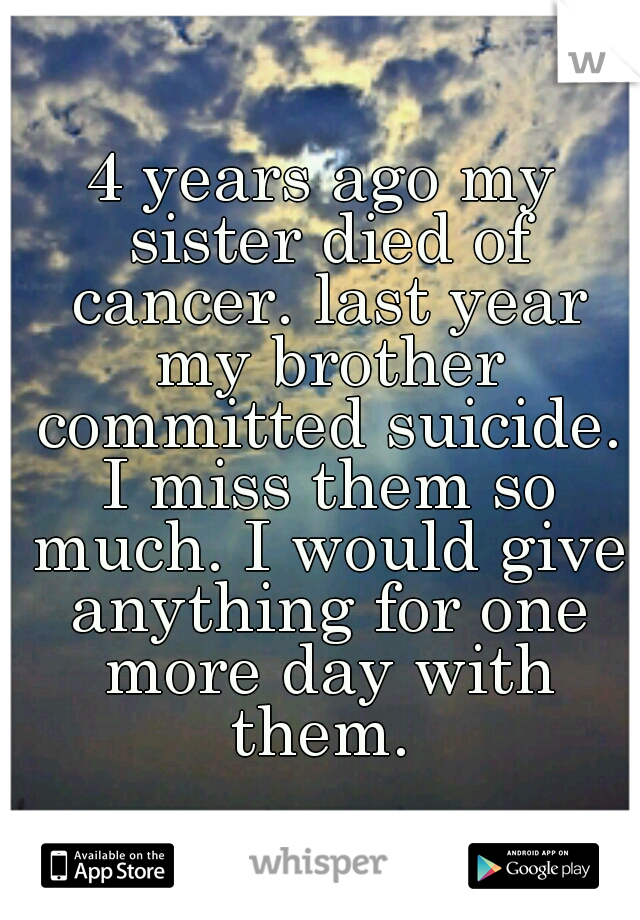 4 years ago my sister died of cancer. last year my brother committed suicide. I miss them so much. I would give anything for one more day with them.