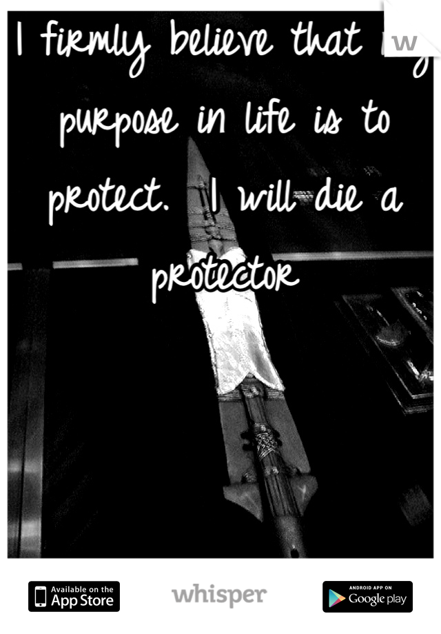 I firmly believe that my purpose in life is to protect.  I will die a protector