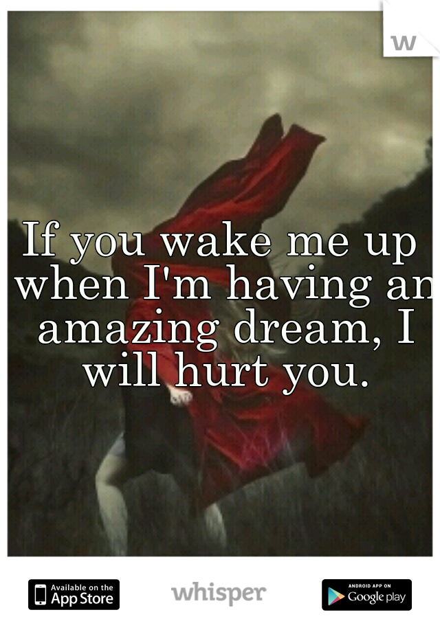 If you wake me up when I'm having an amazing dream, I will hurt you.
