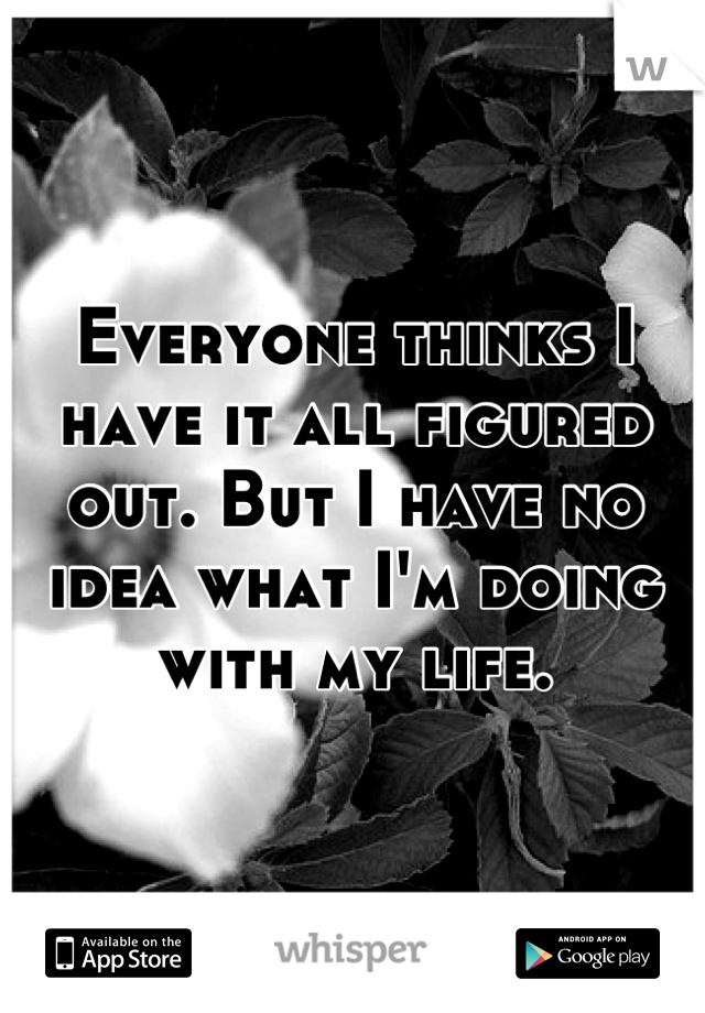 Everyone thinks I have it all figured out. But I have no idea what I'm doing with my life.