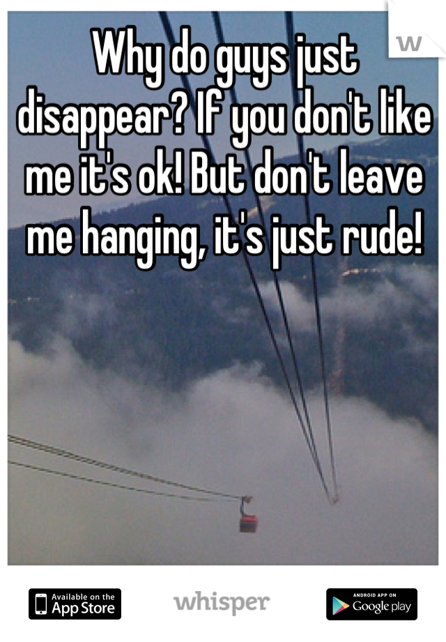 Why do guys just disappear? If you don't like me it's ok! But don't leave me hanging, it's just rude!