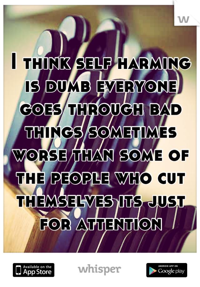 I think self harming is dumb everyone goes through bad things sometimes worse than some of the people who cut themselves its just for attention