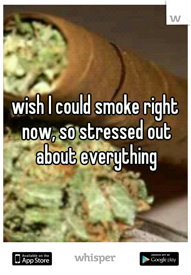 wish I could smoke right now, so stressed out about everything