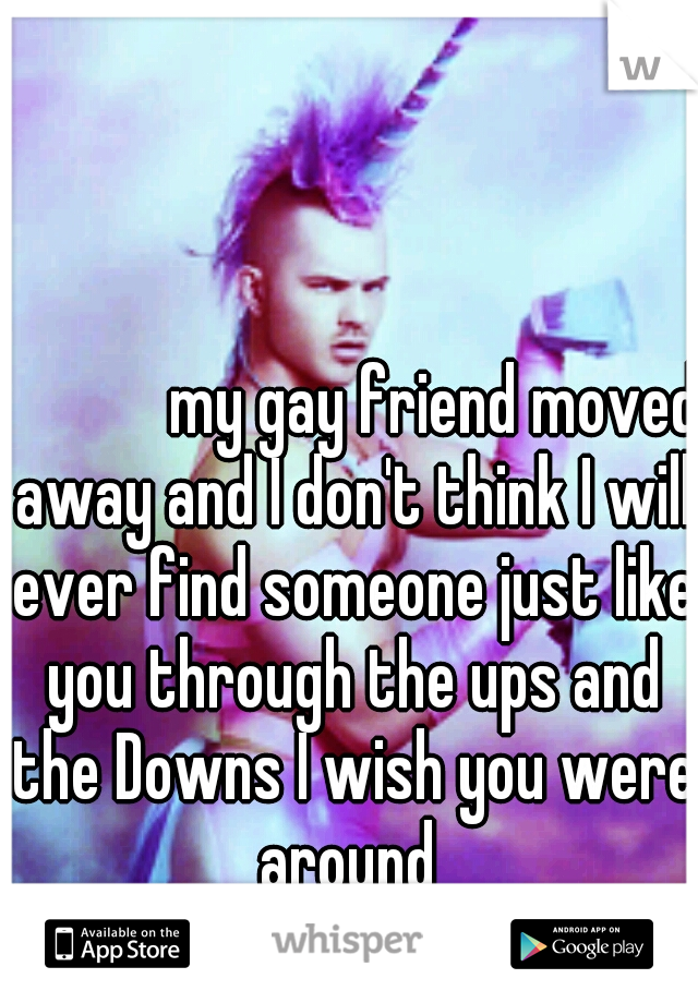 my gay friend moved away and I don't think I will ever find someone just like you through the ups and the Downs I wish you were around