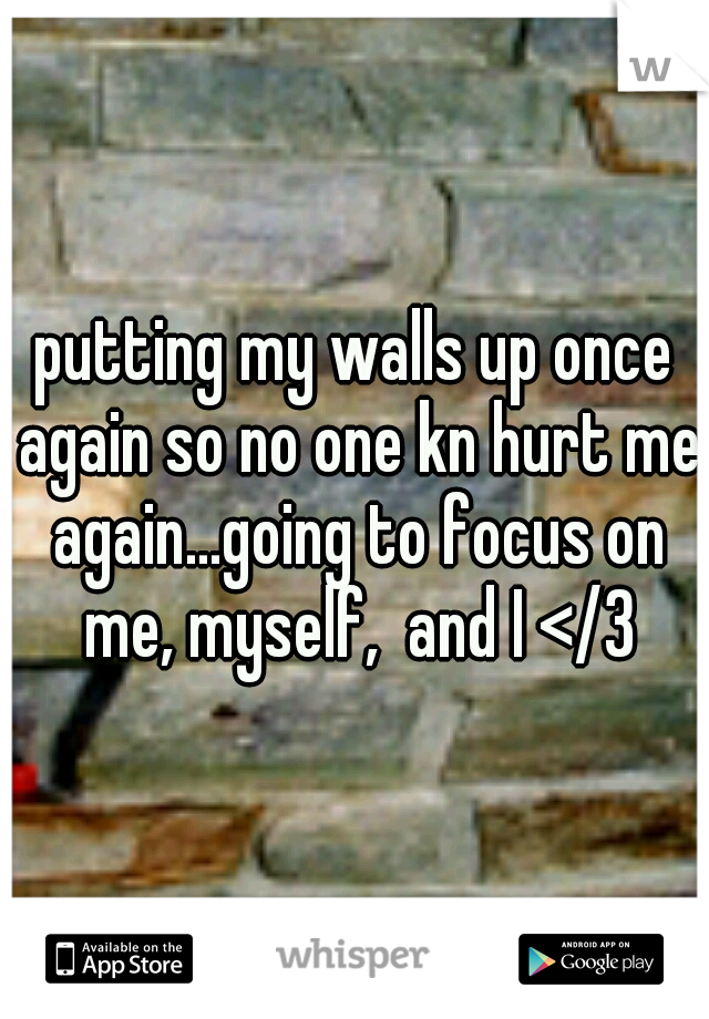putting my walls up once again so no one kn hurt me again...going to focus on me, myself,  and I </3