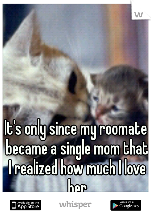 It's only since my roomate became a single mom that I realized how much I love her